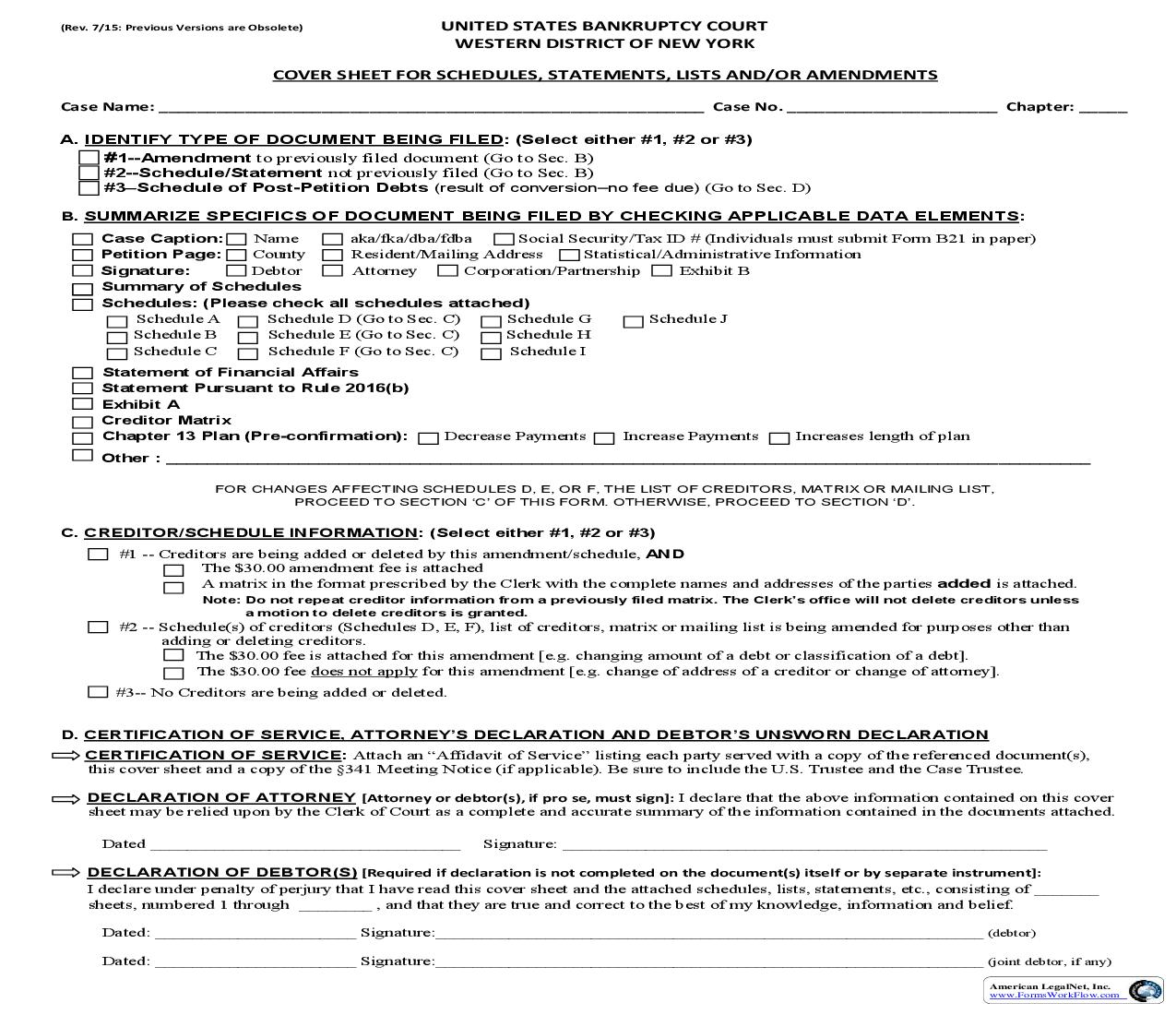 Cover Sheet For Schedules Statements Lists And-Or Amendments | Pdf Fpdf Doc Docx | New York