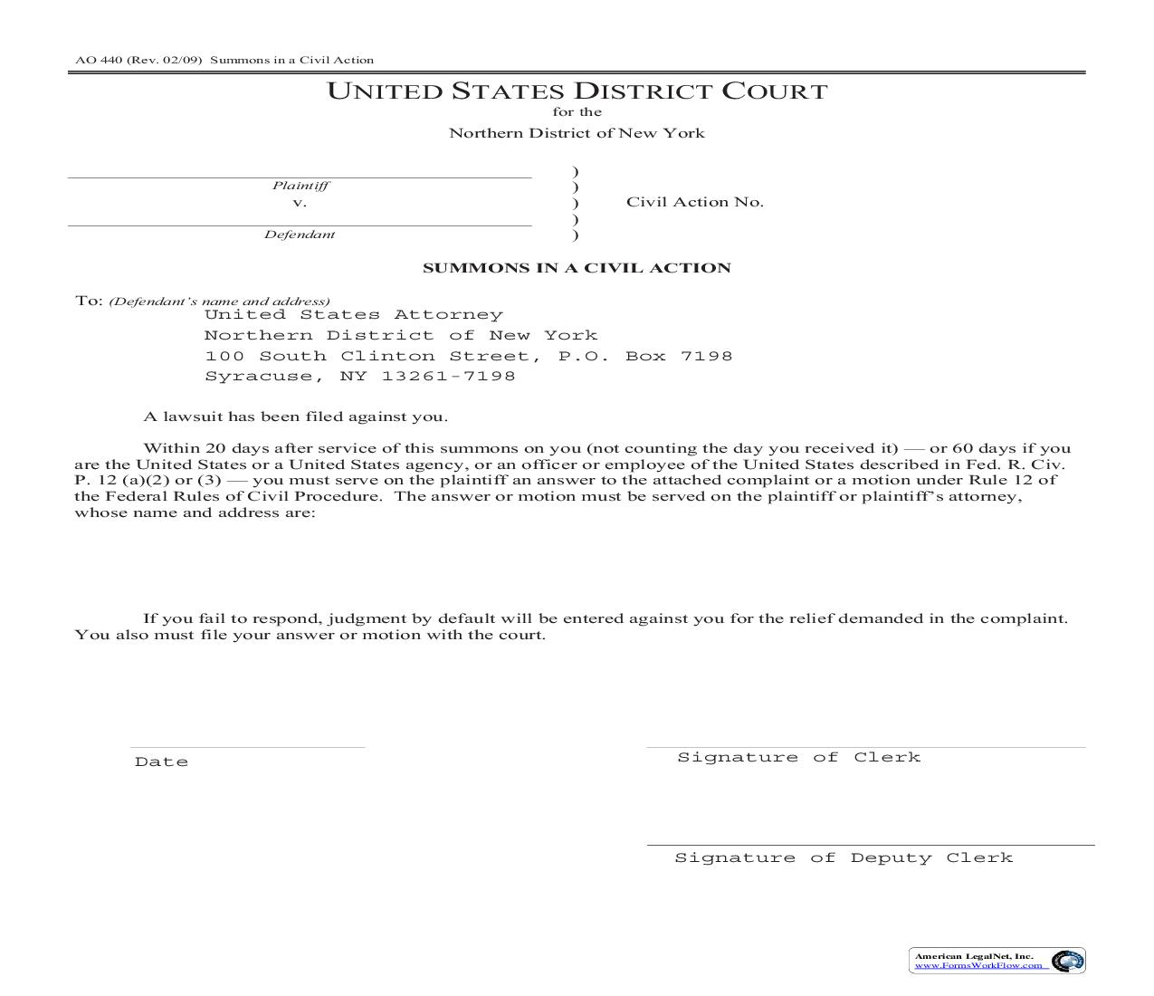 Summons In A Civil Action (NDNY-Social Security Appeal To US Attorney) {AO 440} | Pdf Fpdf Doc Docx | New York