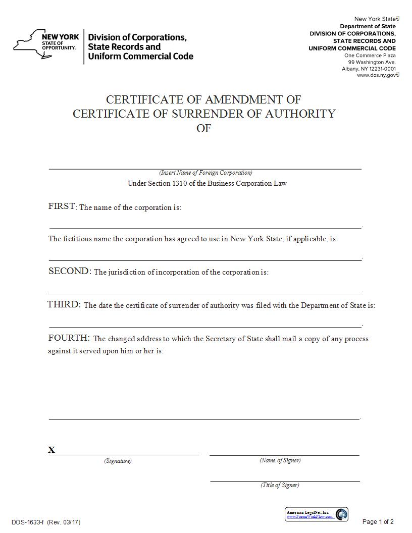 Certificate Of Amendment Of Certificate Of Surrender Of Authority {DOS-1633-f} | Pdf Fpdf Docx | New York