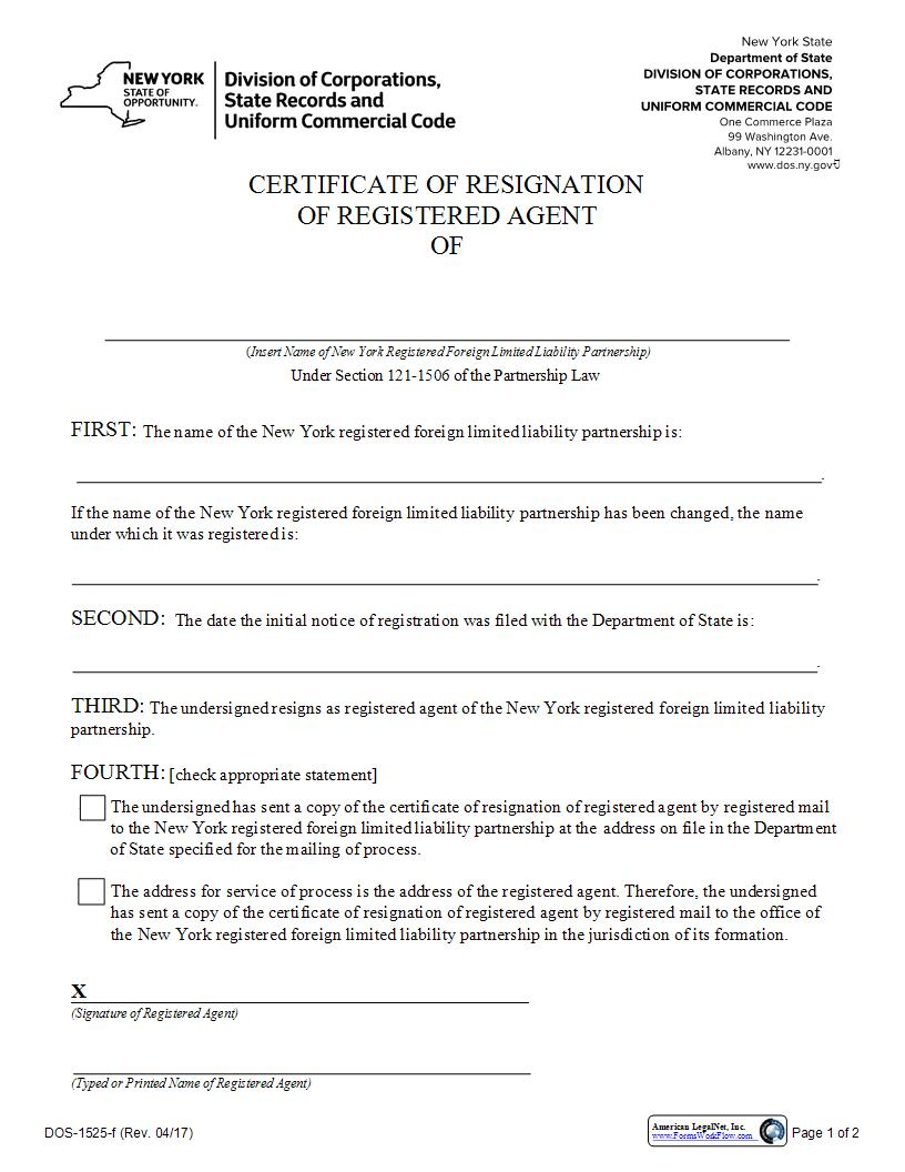 Certificate Of Resignation Of Registered Agent (Foreign LLP) {DOS-1525-f} | Pdf Fpdf Docx | New York
