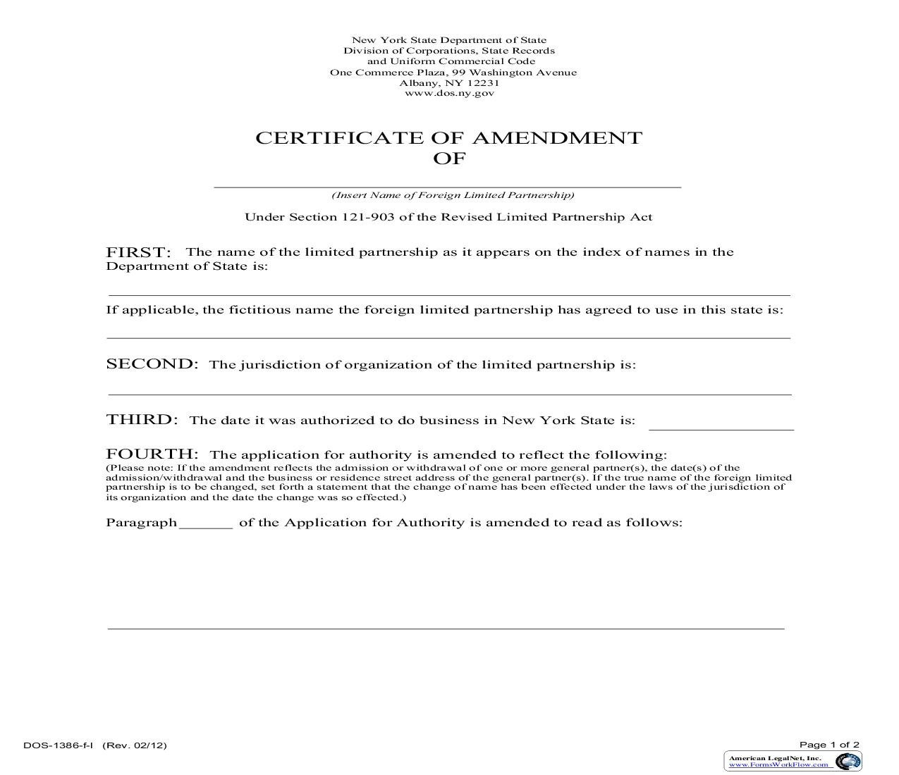 Certificate Of Amendment (Foreign Limited Partnership) {DOS-1386-f-l} | Pdf Fpdf Doc Docx | New York