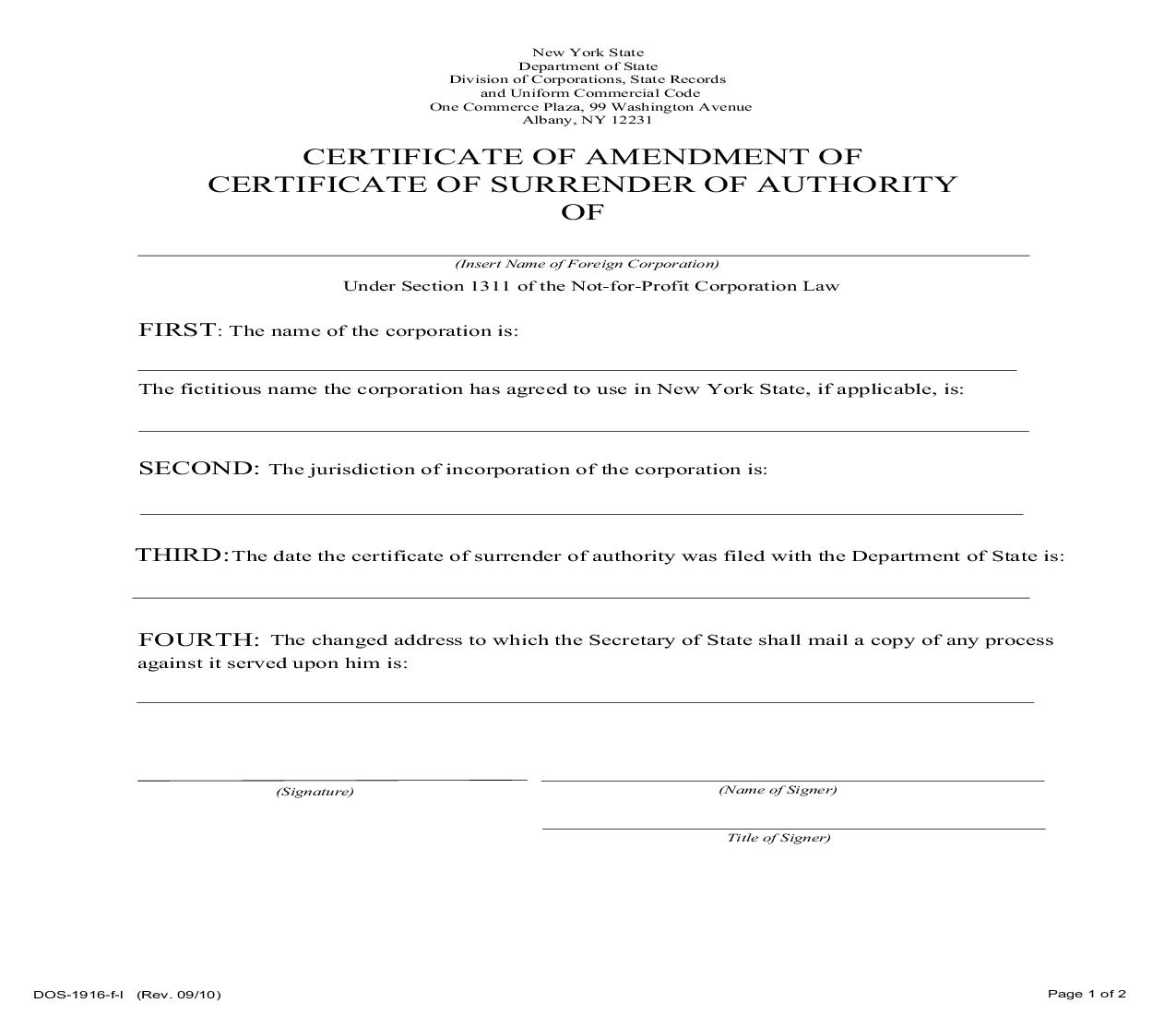 Certificate Of Amendment Of Certificate Of Surrender Of Authority (Foreign Not-For-Profit) {DOS-1916} | Pdf Fpdf Doc Docx | New York