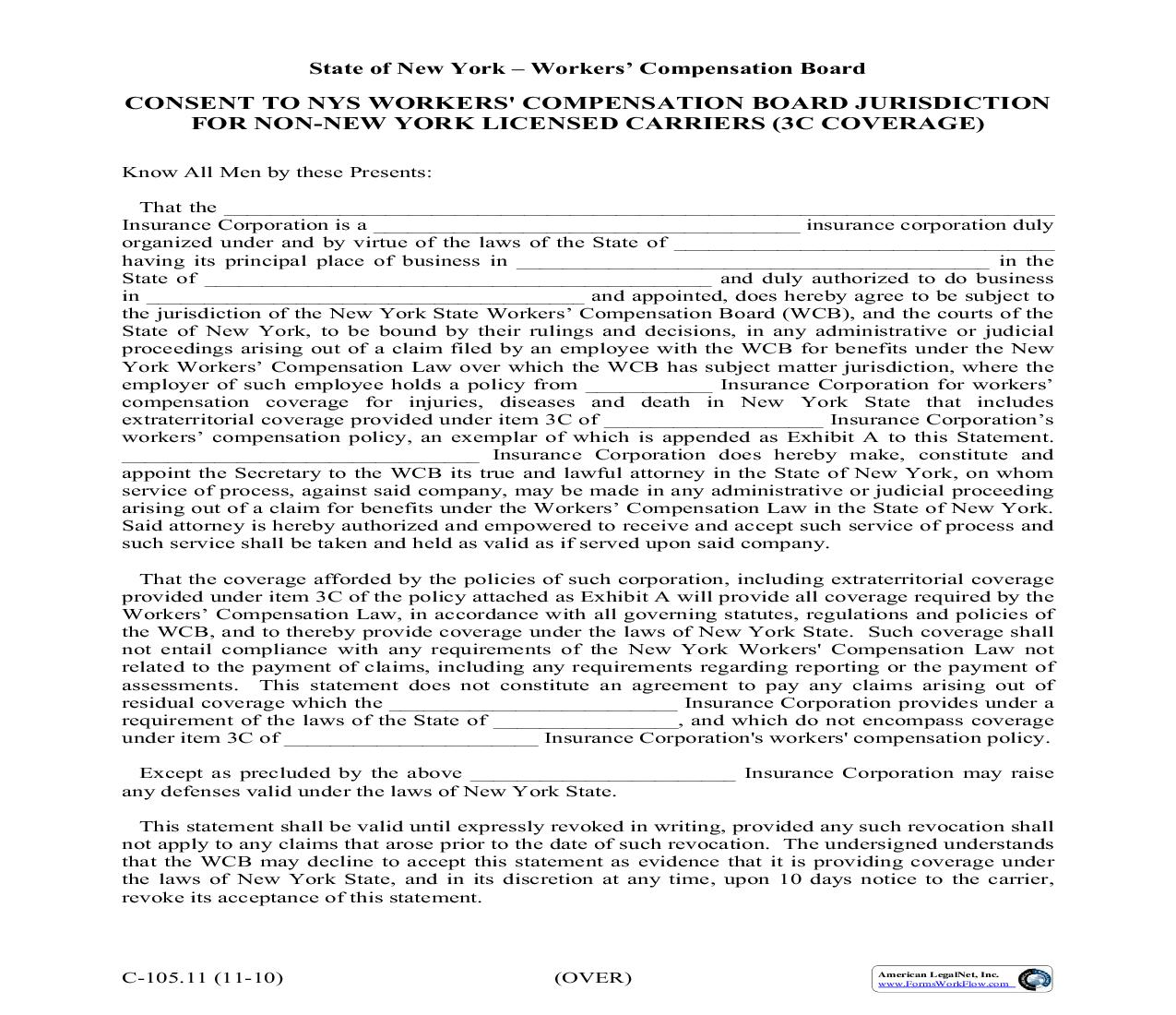 Consent To NYS Workers Compensation Board Jurisdiction For Non-New York Licensed Carriers (3C Coverage) {C105.11}   Pdf Fpdf Doc Docx   New York