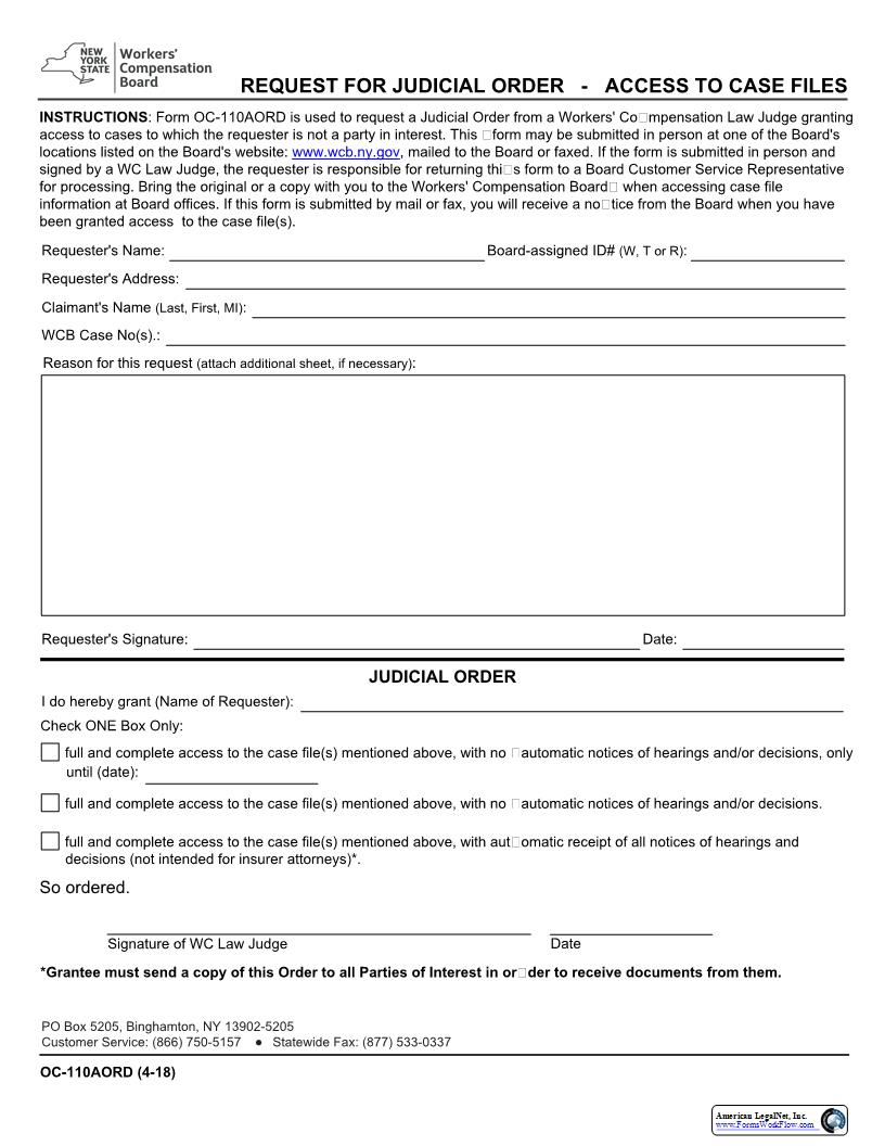 Request For Judicial Order - Access To Case Files {OC-110AORD}   Pdf Fpdf Docx   New York