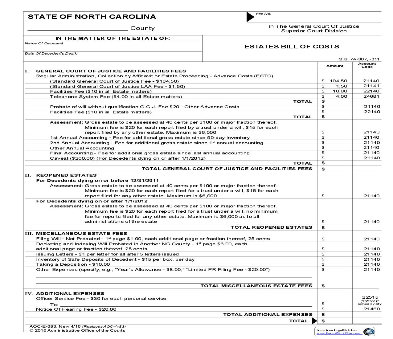 Estate Bill Of Costs {A-83} | Pdf Fpdf Doc Docx | North Carolina