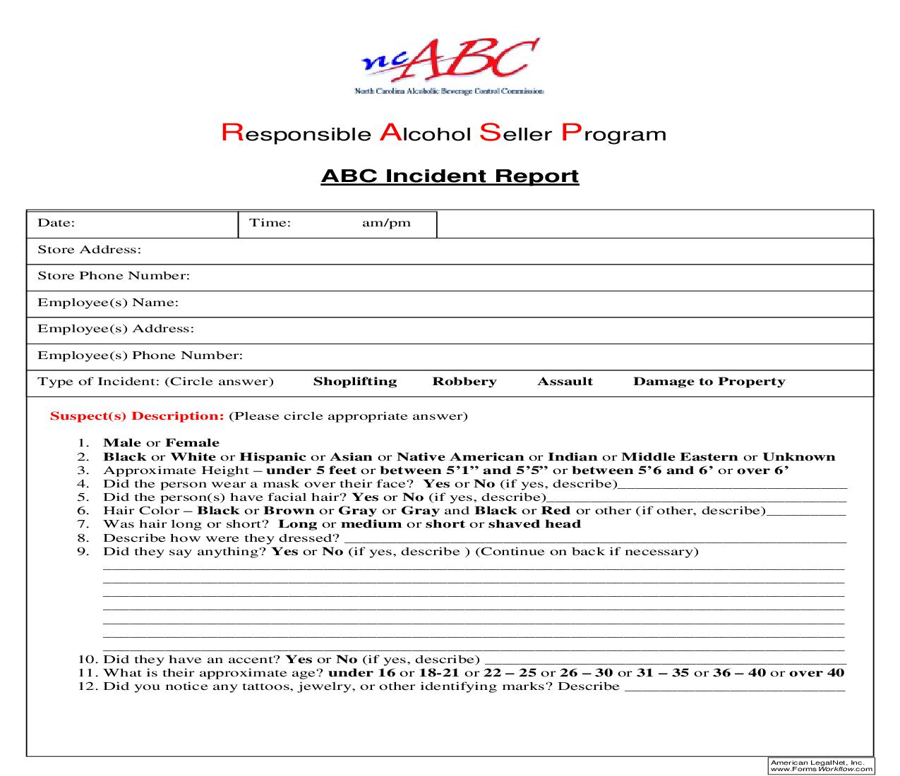 ABC Incident Report | Pdf Fpdf Doc Docx | North Carolina