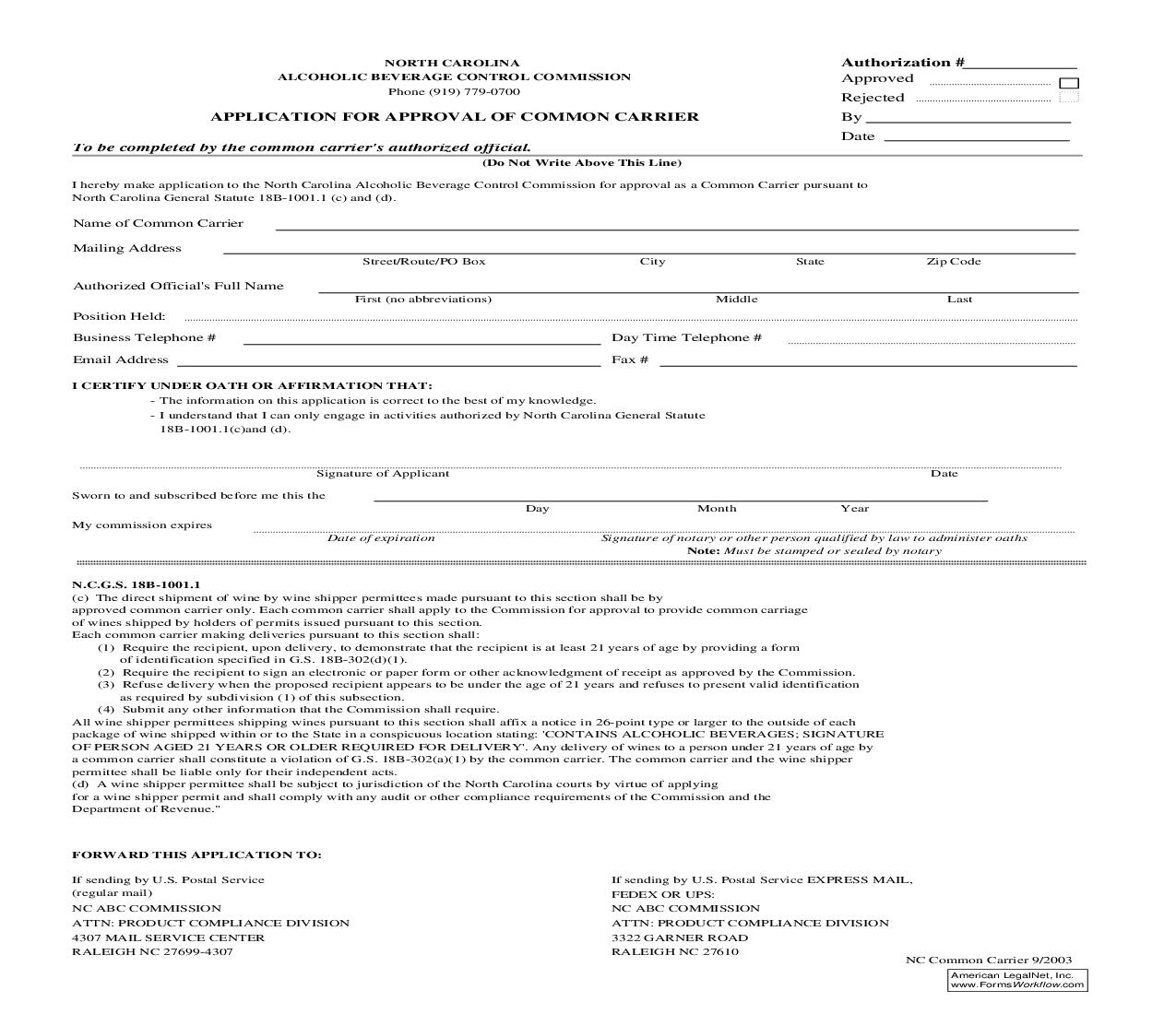 Application For Approval Of Common Carrier | Pdf Fpdf Doc Docx | North Carolina