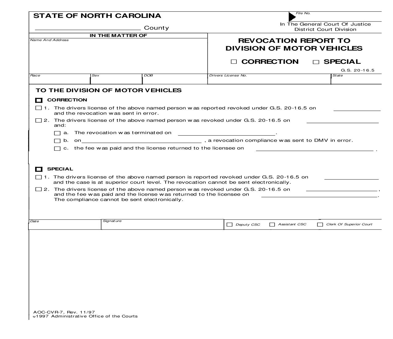 Revocation Report To Division Of Motor Vehicles {CVR-7} | Pdf Fpdf Doc Docx | North Carolina