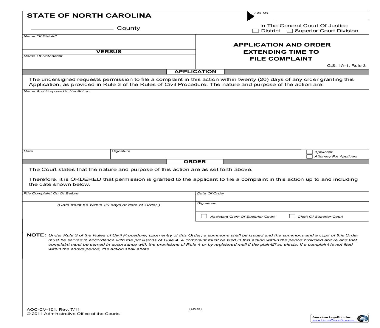 Application And Order Extending Time to File Complaint {CV-101} | Pdf Fpdf Doc Docx | North Carolina