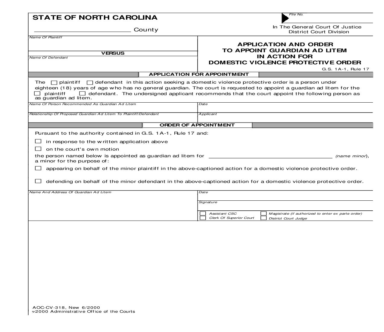 Application And Order To Appoint Guardian Ad Litem In Action For Domestic Violence Protective Order {CV-318} | Pdf Fpdf Doc Docx | North Carolina