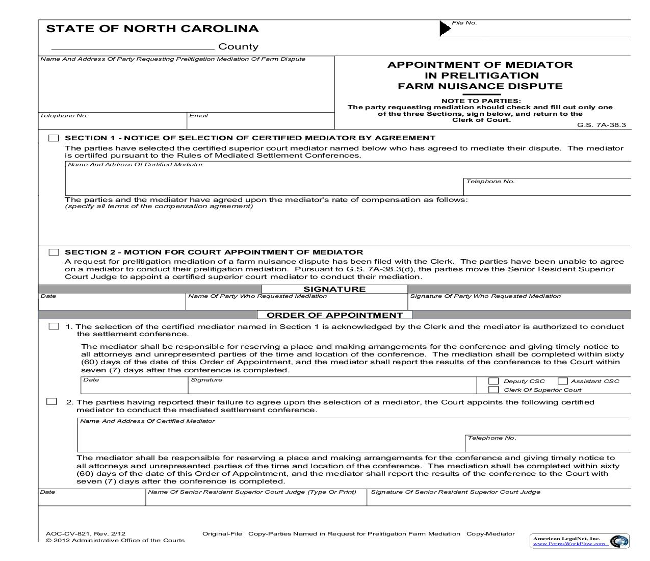Appointment Of Mediator In Prelitigation Farm Nuisance Dispute {CV-821} | Pdf Fpdf Doc Docx | North Carolina