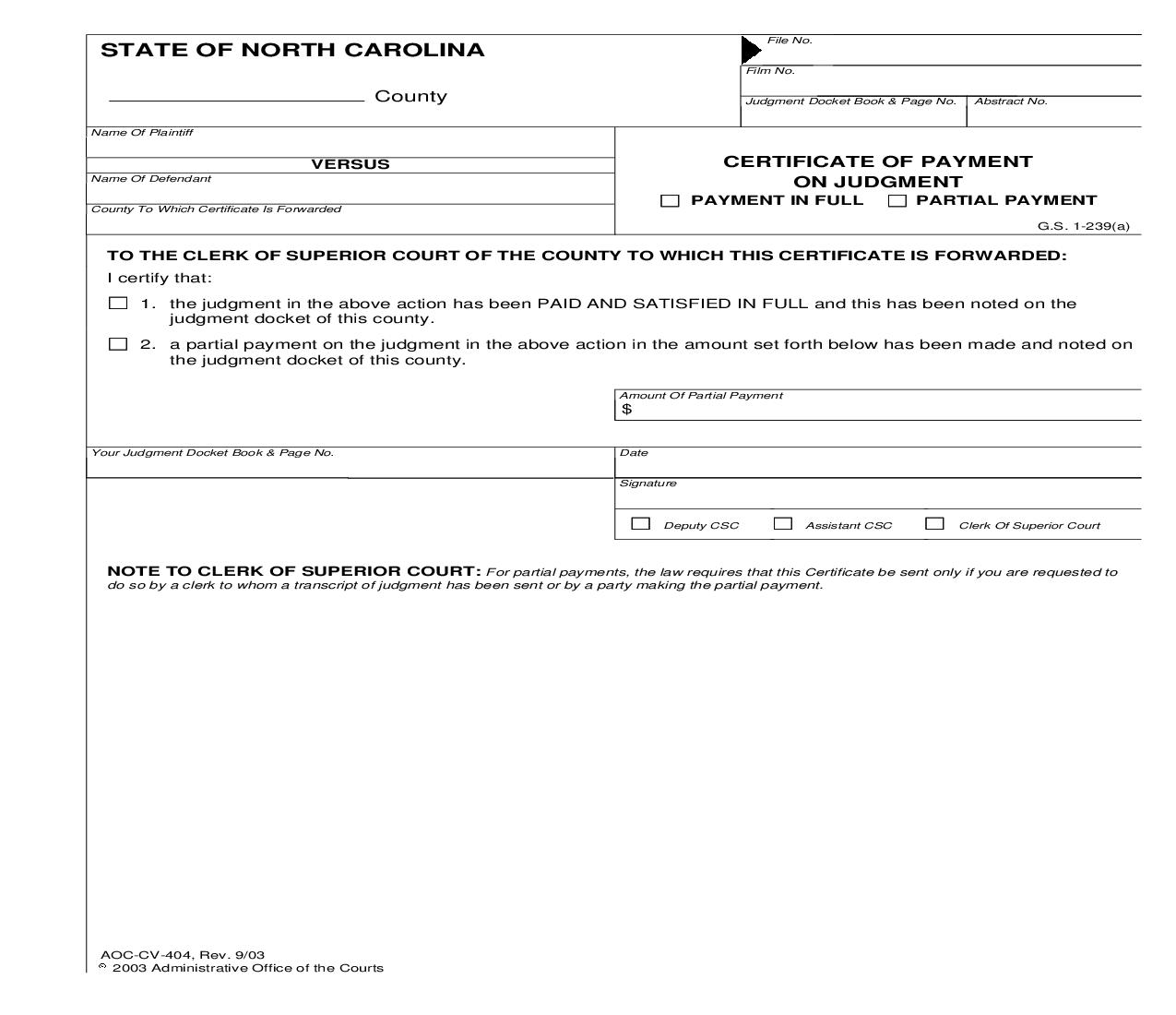 Certificate Of Payment On Judgment {CV-404} | Pdf Fpdf Doc Docx | North Carolina