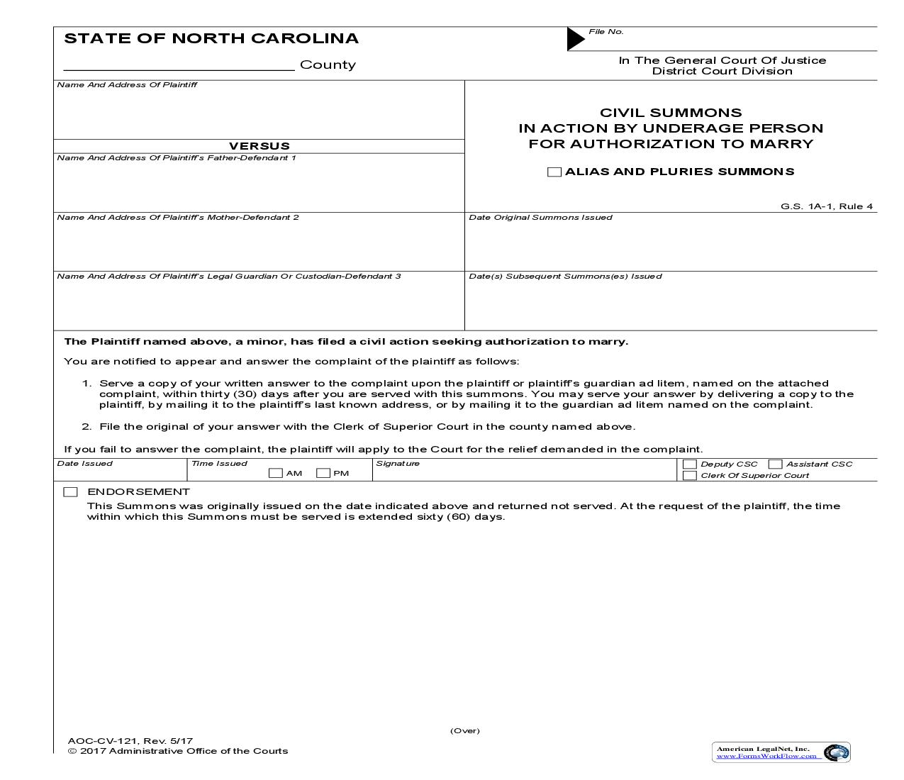 Civil Summons In Action By Underage Person For Authorization To Marry {CV-121} | Pdf Fpdf Doc Docx | North Carolina