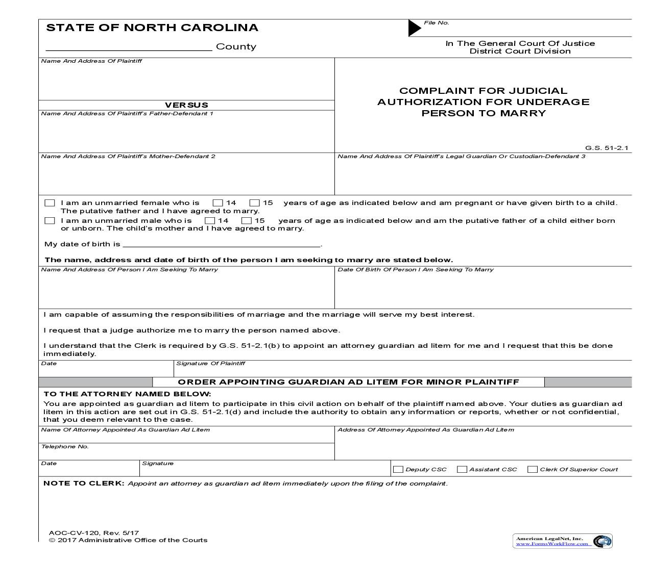 Complaint For Judicial Authorization For Underage Person To Marry {CV-120} | Pdf Fpdf Doc Docx | North Carolina