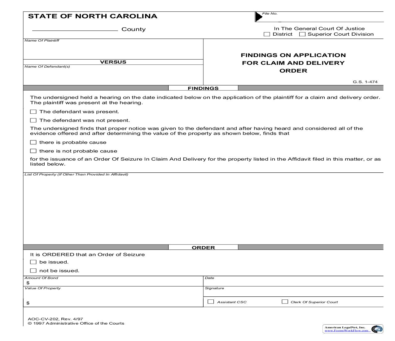 Findings On Application For Claim And Delivery Order {CV-202} | Pdf Fpdf Doc Docx | North Carolina