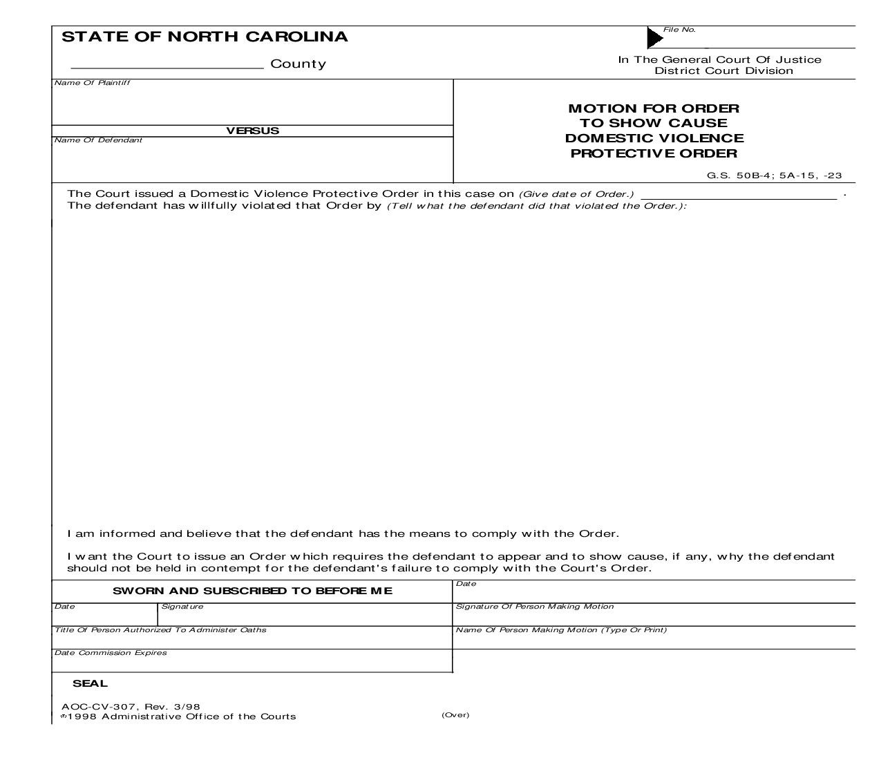 Motion For Order To Show Cause Domestic Violence Protective Order {CV-307} | Pdf Fpdf Doc Docx | North Carolina