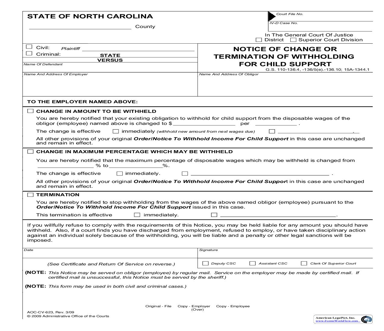 Notice Of Change Or Termination Of Withholding For Child Support {CV-623} | Pdf Fpdf Doc Docx | North Carolina