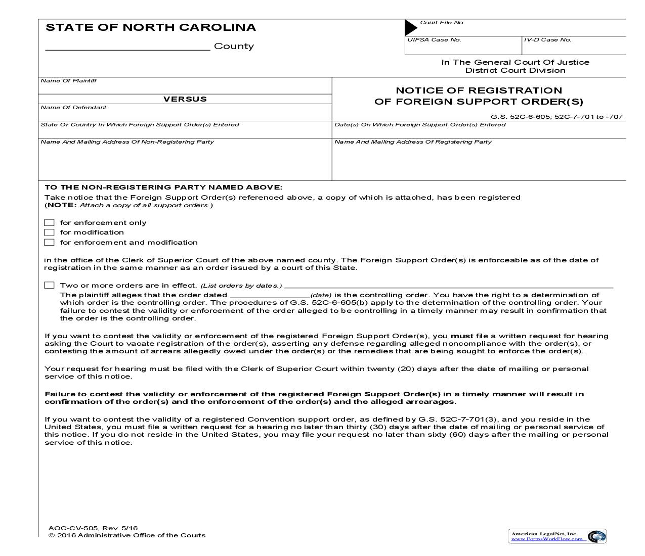 Notice Of Registration Of Foreign Support Order {CV-505} | Pdf Fpdf Doc Docx | North Carolina