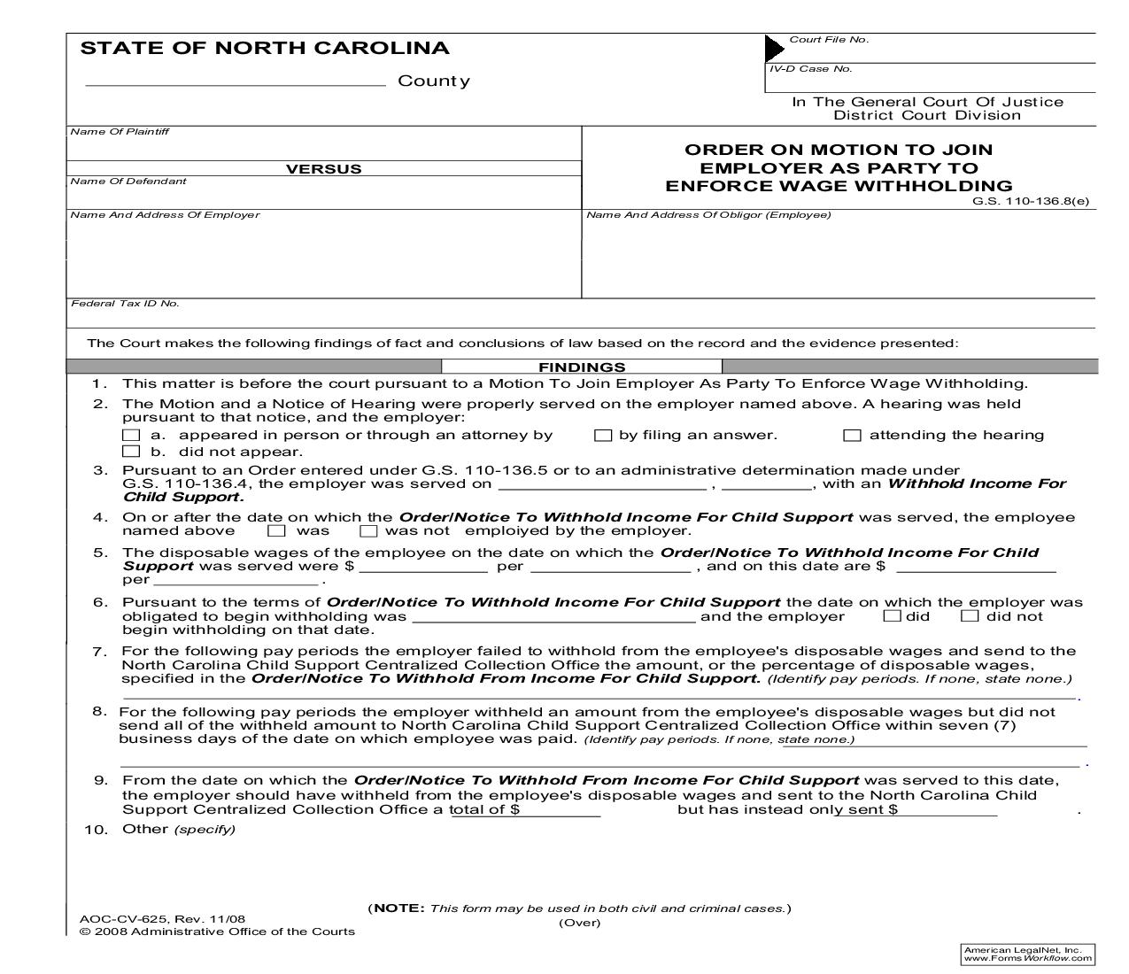 Order On Motion To Join Employer As Party To Enforce Wage Withholding {CV-625} | Pdf Fpdf Doc Docx | North Carolina
