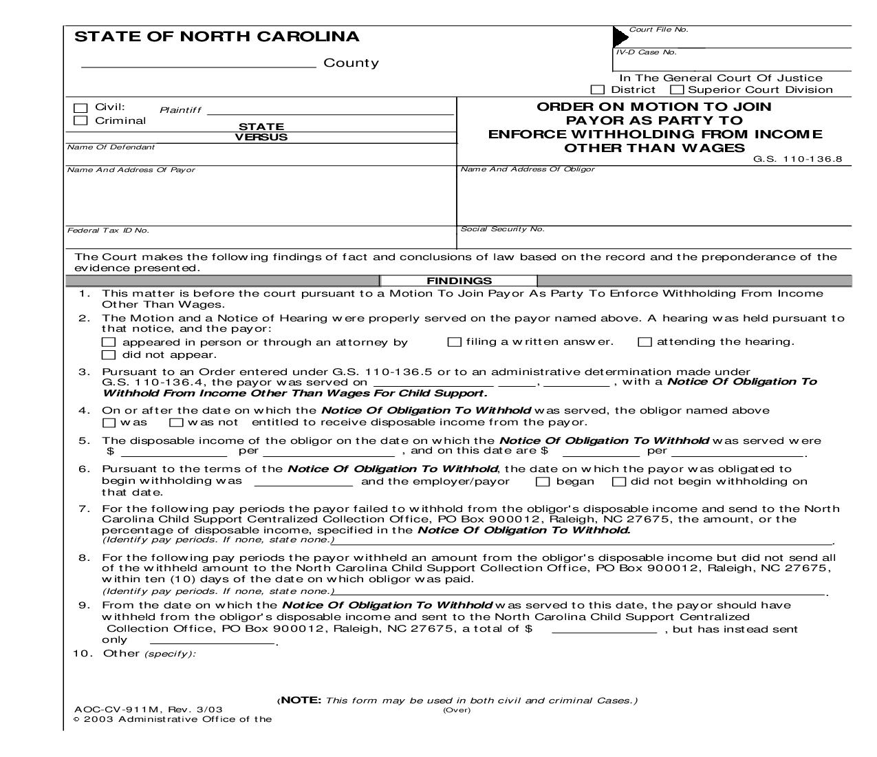 Order On Motion To Join Payor As Party To Enforce Income Withholding {CV-911M} | Pdf Fpdf Doc Docx | North Carolina