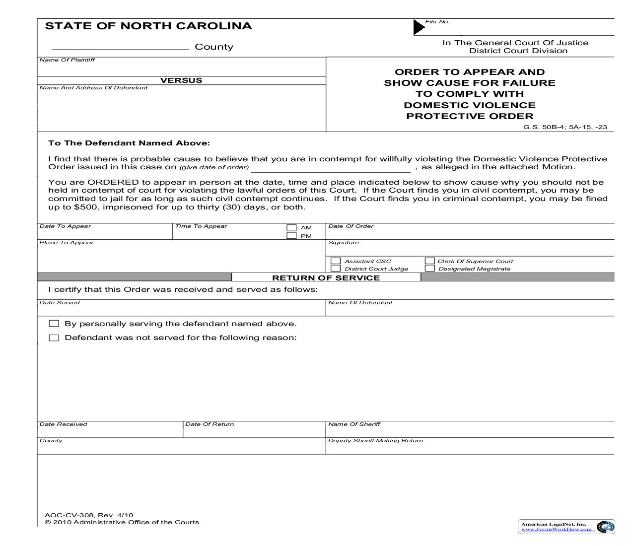 Order To Appear And Show Cause For Failure To Comply With Domestic Violence Protective Order {CV-308} | Pdf Fpdf Doc Docx | North Carolina