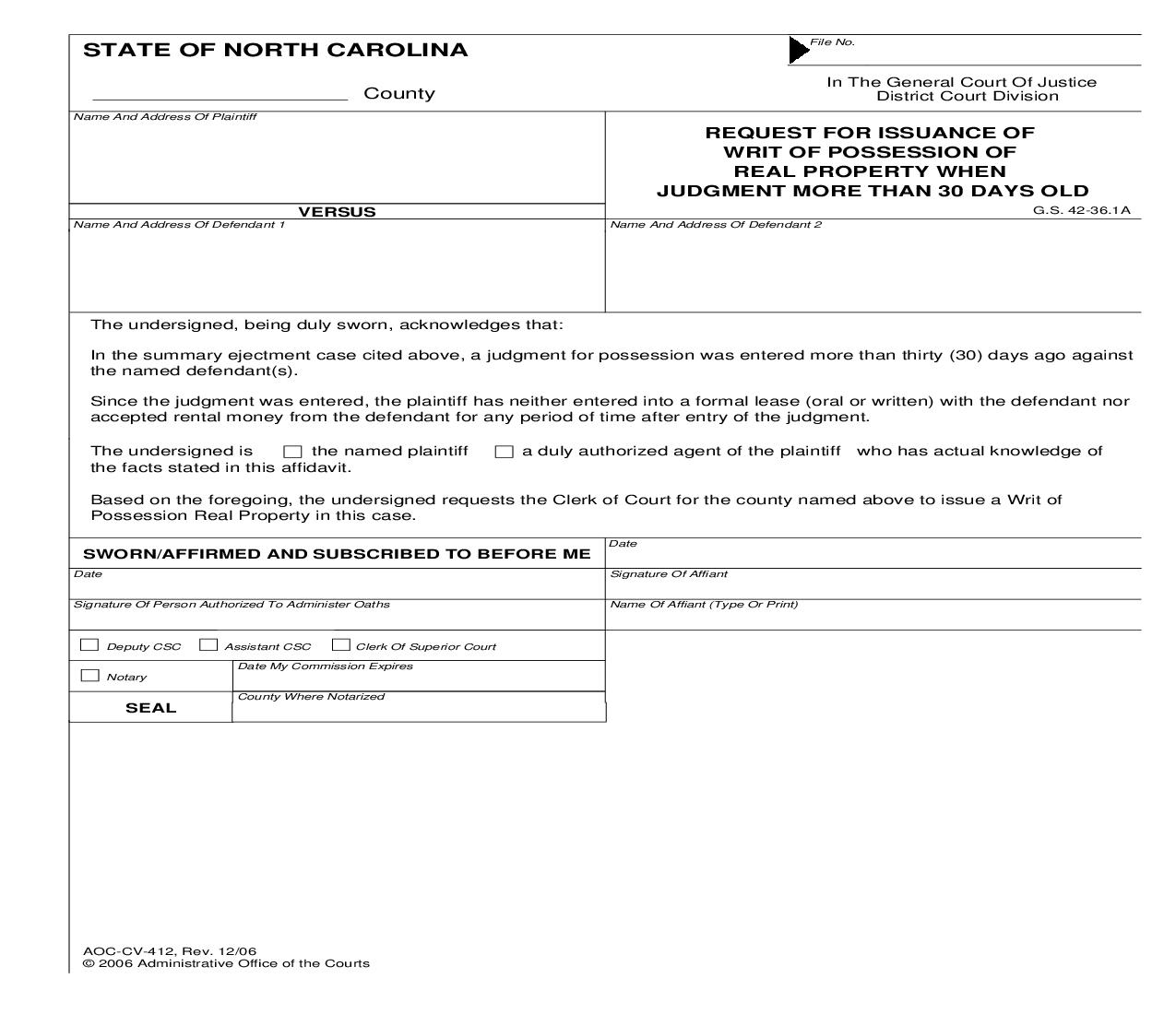 Request For Issuance Of Writ Of Possession Of Real Property When Judgment More Than 30 Days Old {CV-412} | Pdf Fpdf Doc Docx | North Carolina