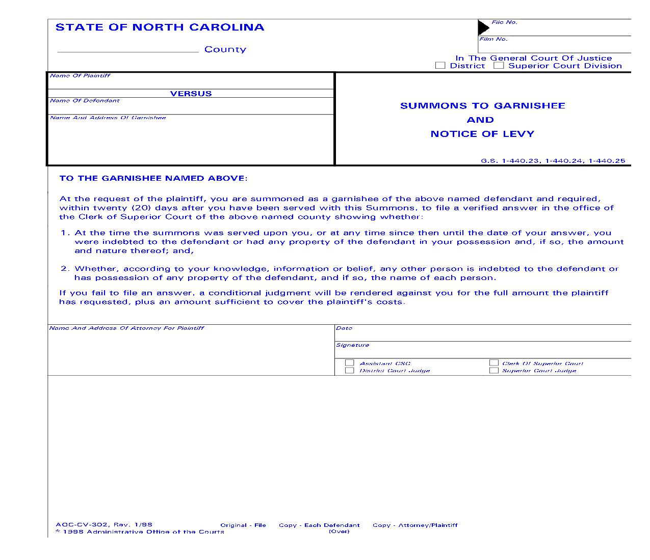 Summons To Garnishee And Notice Of Levy {CV-302} | Pdf Fpdf Doc Docx | North Carolina