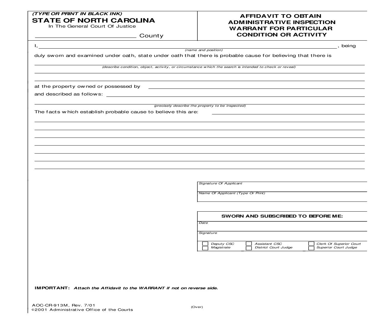 Affidavit To Obtain Administrative Inspection Warrant For Particular Condition Or Activity {CR-913M} | Pdf Fpdf Doc Docx | North Carolina
