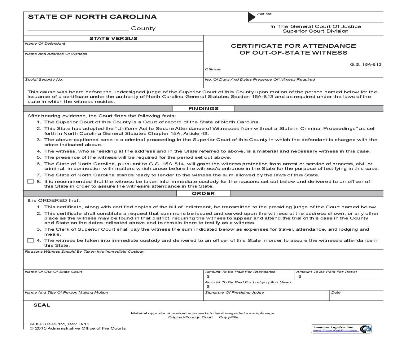 Certificate For Attendance Of Out Of State Witness {CR-901M} | Pdf Fpdf Doc Docx | North Carolina