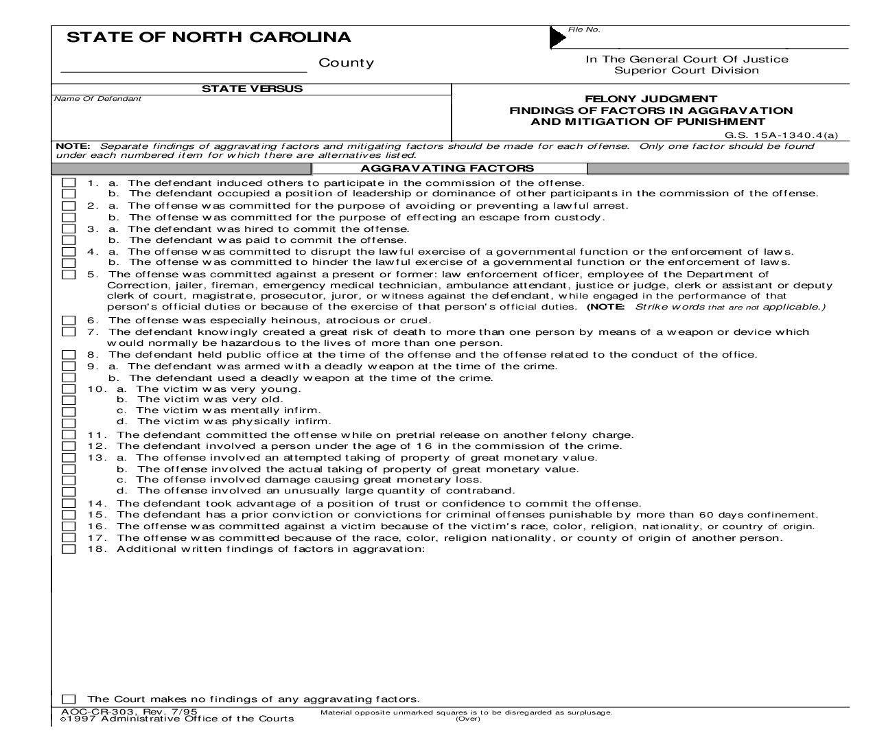 Felony Judgment Findings Of Factors In Aggravation And Mitigation Of Punishment {CR-303}   Pdf Fpdf Doc Docx   North Carolina