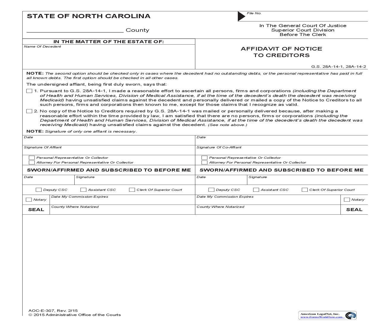 Affidavit Of Notice To Creditors {E-307} | Pdf Fpdf Doc Docx | North Carolina