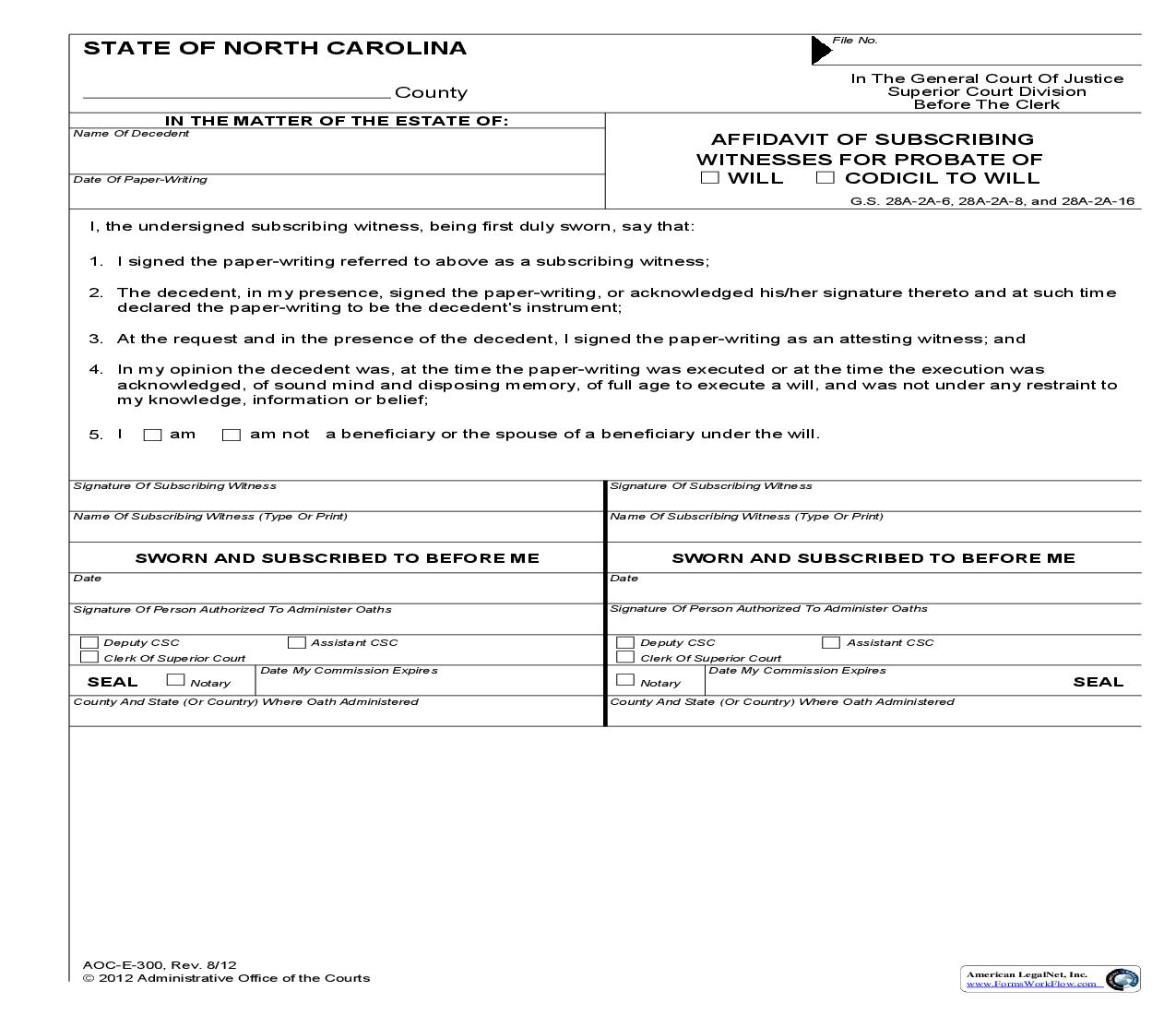 Affidavit Of Subscribing Witnesses For Probate OF Will Codicil To Will {E-300} | Pdf Fpdf Doc Docx | North Carolina