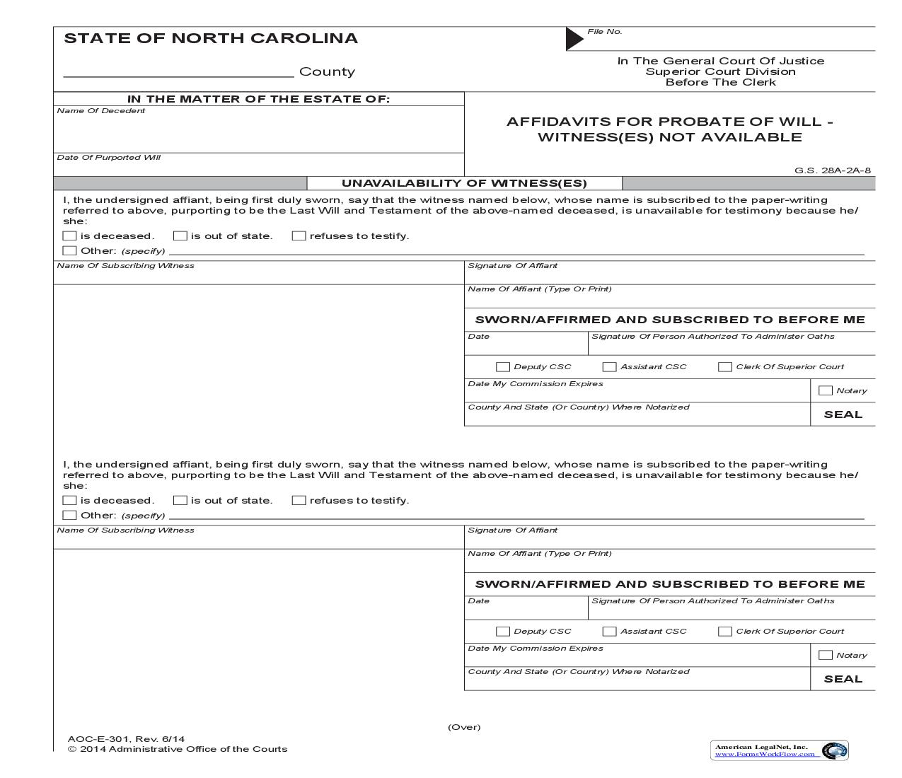 Affidavits For Probate Of Will Witnesses Not Available {E-301} | Pdf Fpdf Doc Docx | North Carolina