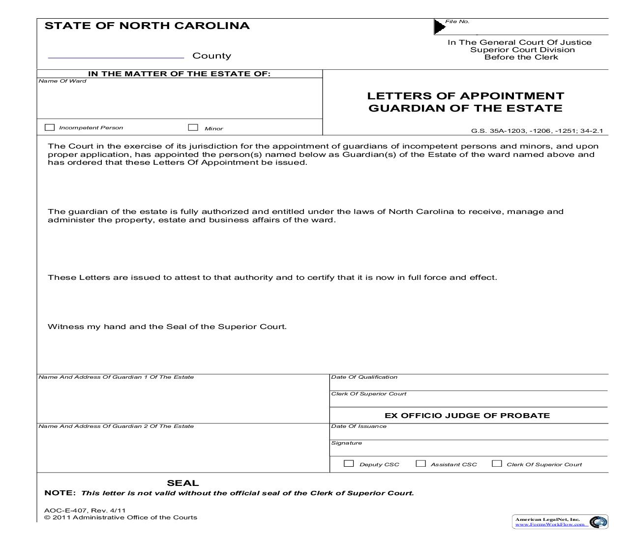 Letters Of Appointment Guardian Of The Estate {E-407}   Pdf Fpdf Doc Docx   North Carolina