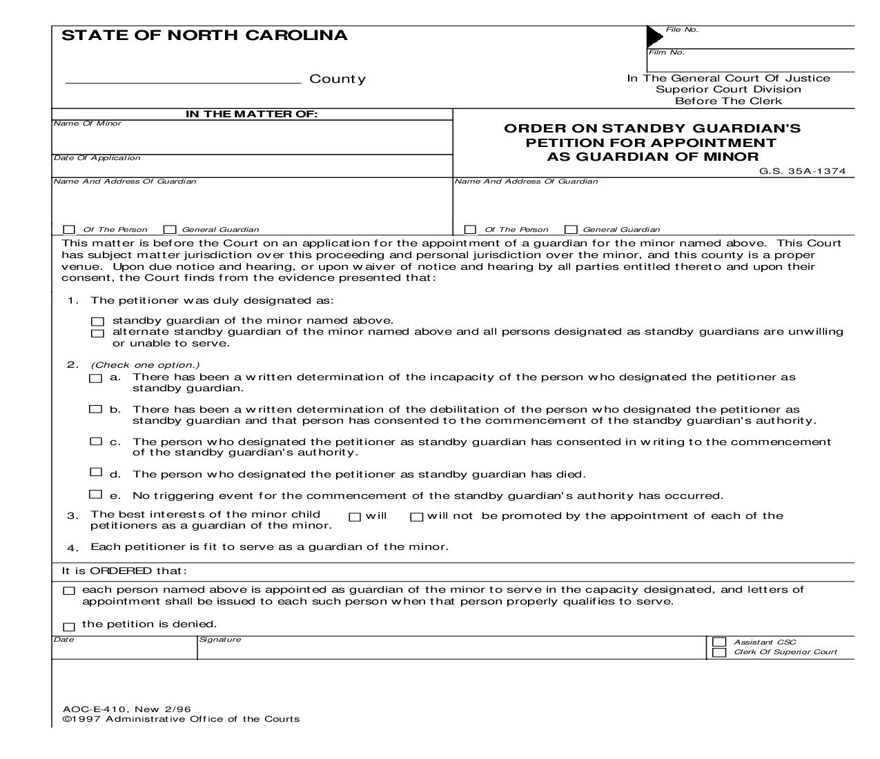 Order On Standby Guardians Petition For Appointment As Guardian Of Minor {E-410} | Pdf Fpdf Doc Docx | North Carolina