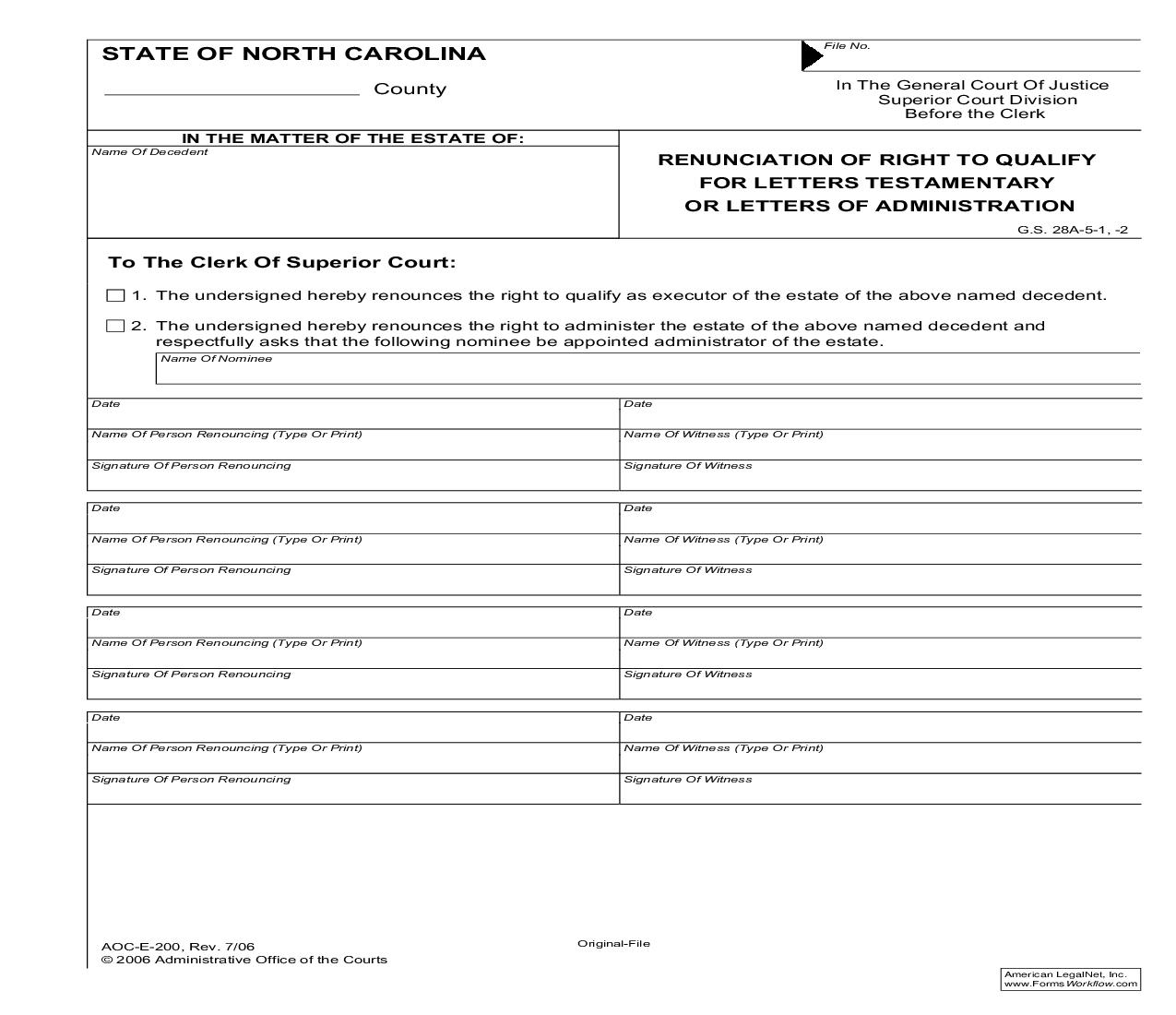 Renunciation Of Right To Qualify For Letters Testamentary Or Letters Of Administration {E-200} | Pdf Fpdf Doc Docx | North Carolina