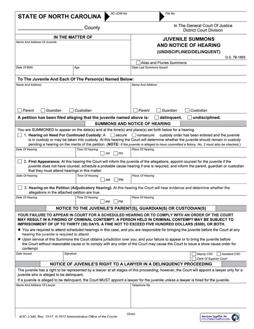 Juvenile Summons And Notice Of Hearing Undisciplined Delinquent {J-340} | Pdf Fpdf Docx | North Carolina