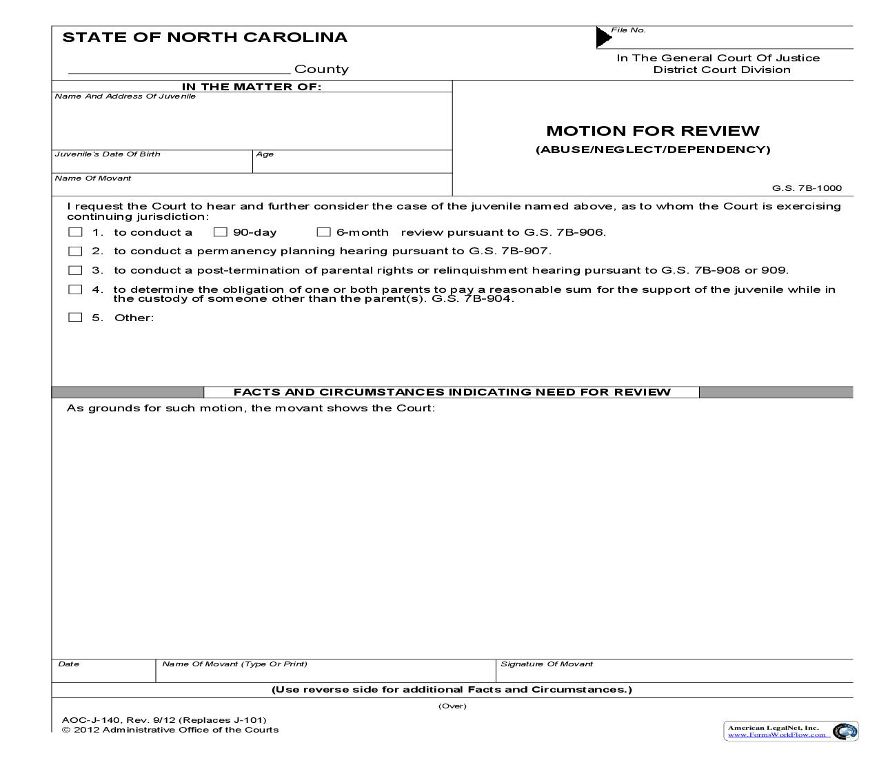 Motion For Review Abuse Neglect Dependency {J-140} | Pdf Fpdf Doc Docx | North Carolina
