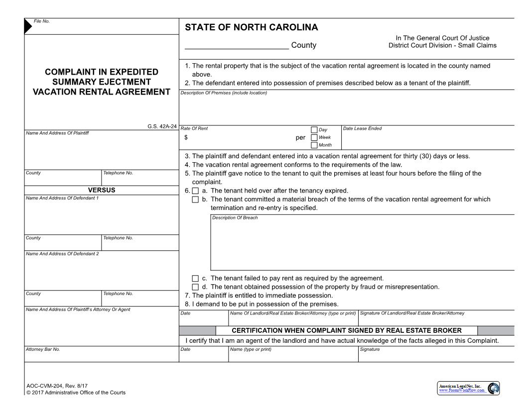 Complaint In Expedited Summary Ejectment Vacation Rental Agreement {CVM-204} | Pdf Fpdf Docx | North Carolina