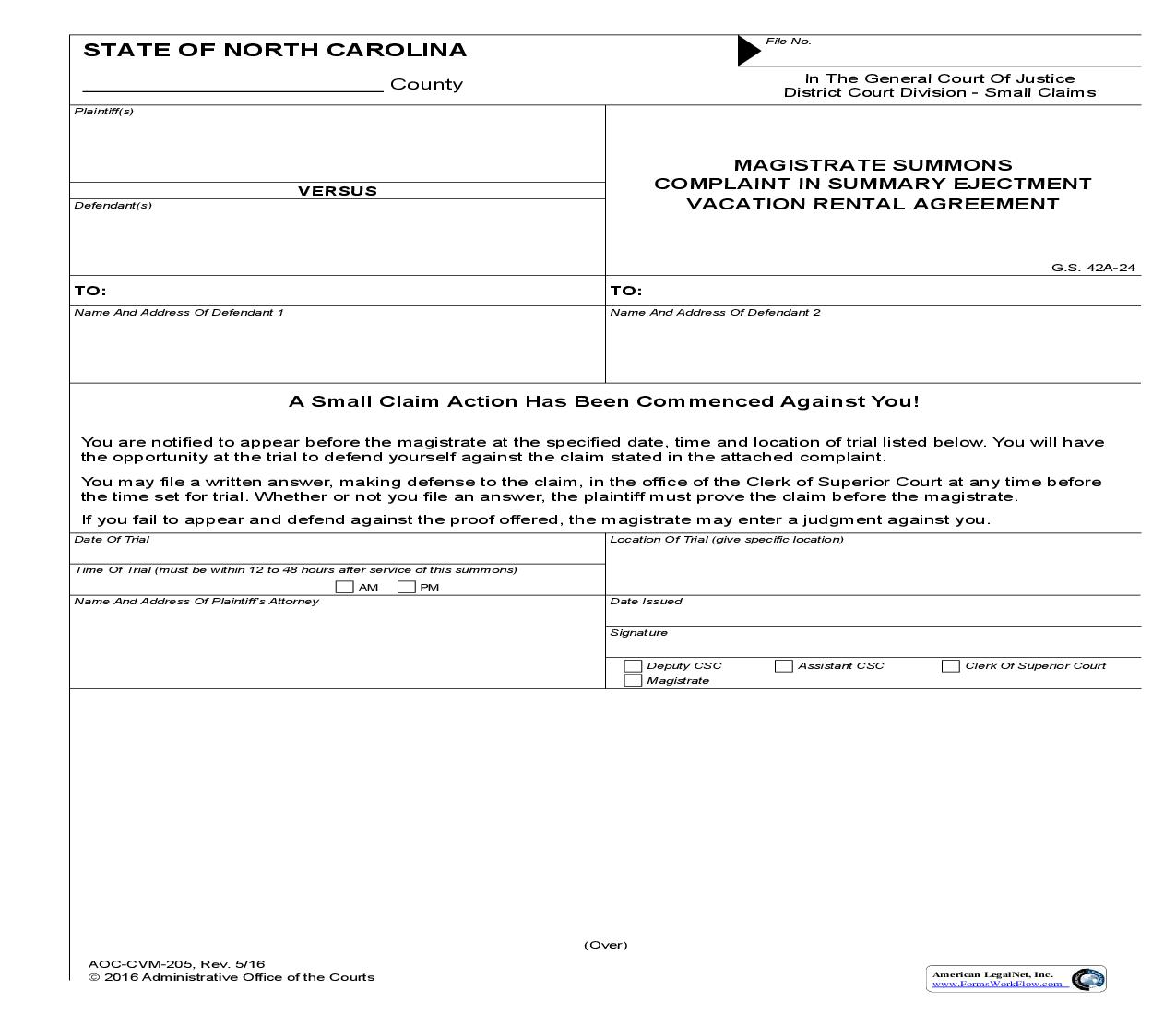 Magistrate Summons Complaint In Summary Ejectment Vacation Rental Agreement {CVM-205} | Pdf Fpdf Doc Docx | North Carolina