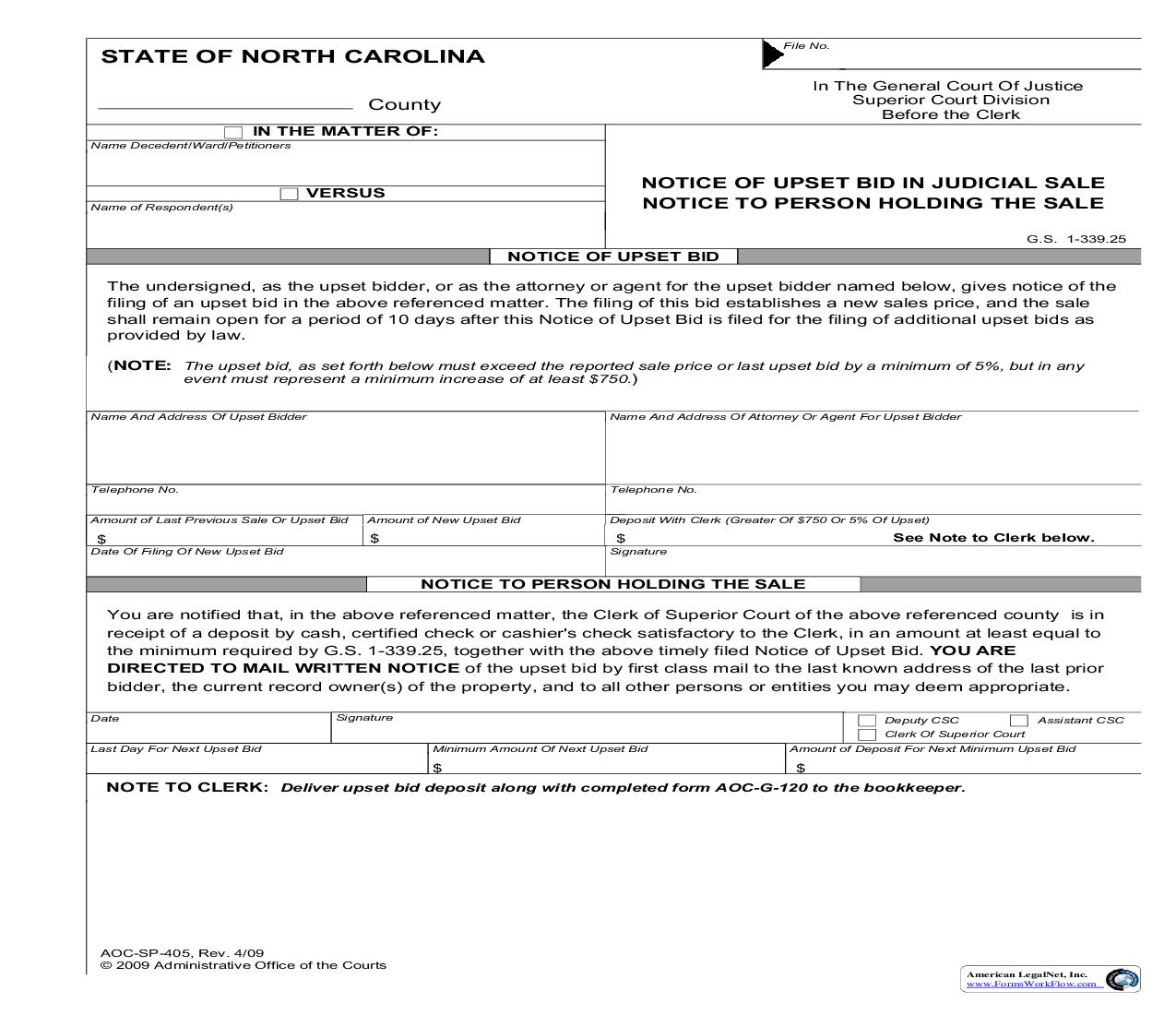 Notice Of Upset Bid On Judicial Sale Notice To Person Holding The Sale {SP-405} | Pdf Fpdf Doc Docx | North Carolina