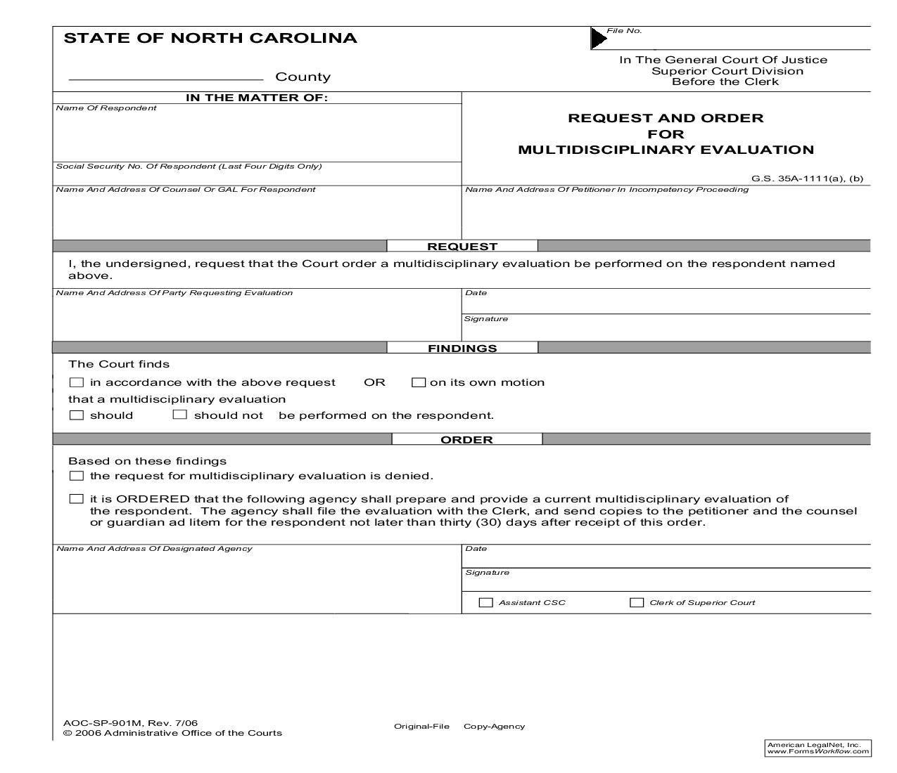 Request And Order For Multidisciplinary Evaluation {SP-901M} | Pdf Fpdf Doc Docx | North Carolina