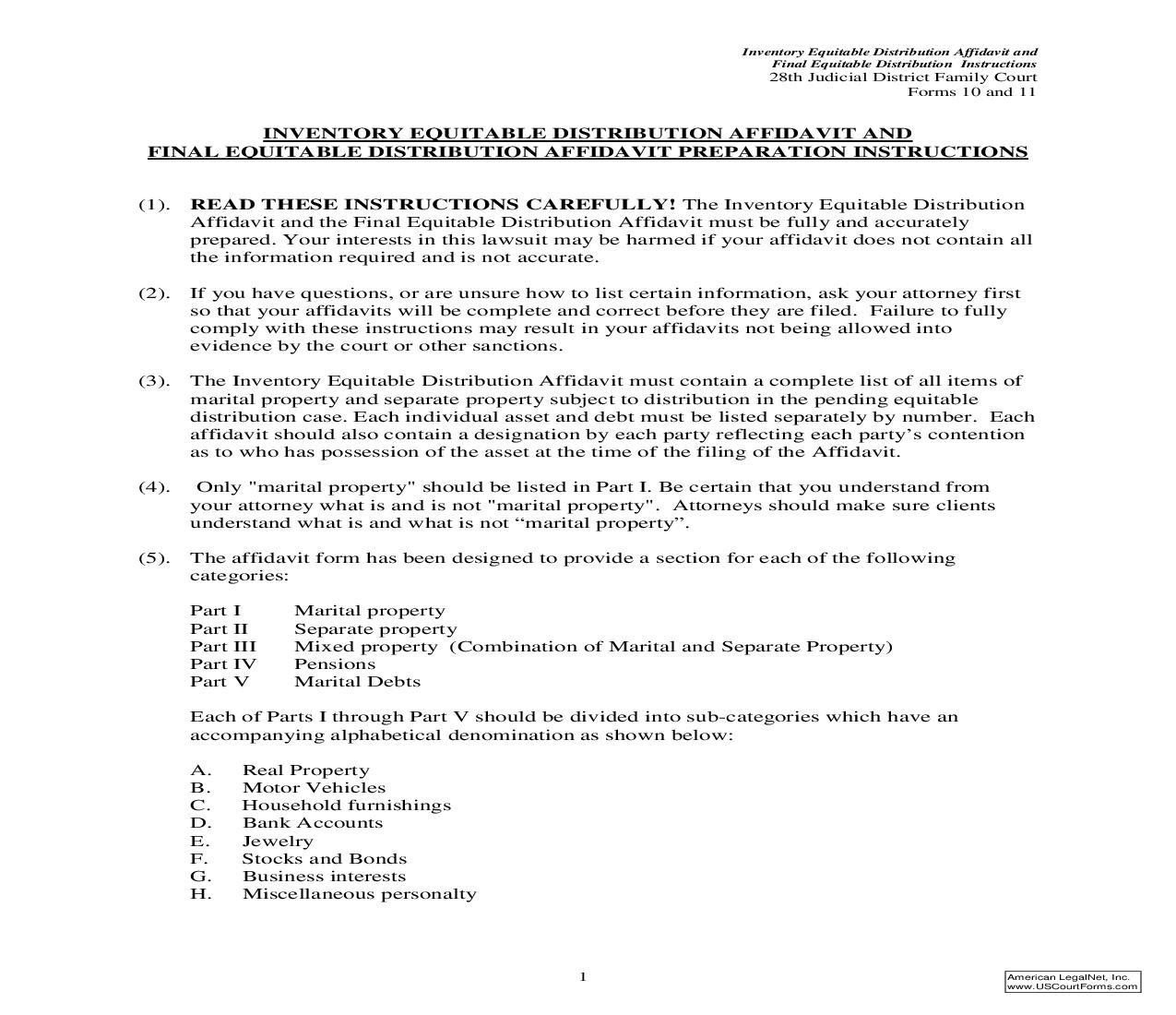 Inventory Equitable Distribution Affidavit And Final Equitable Distribution Affidavit Preparation Instructions {Forms 10 and 11}   Pdf Fpdf Doc Docx   North Carolina