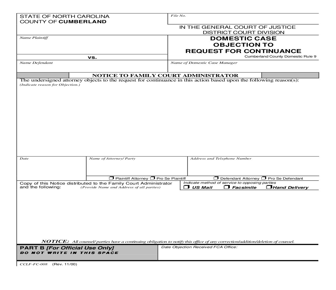 Domestic Case Objection To Request For Continuance {CCLF-FC-008} | Pdf Fpdf Doc Docx | North Carolina