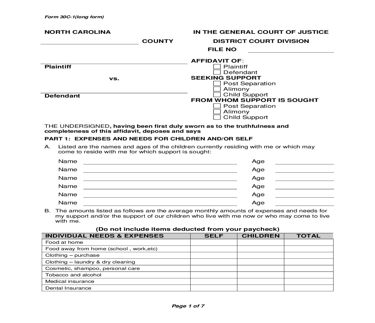 Affidavit Seeking Support Long Form {8} | Pdf Fpdf Doc Docx | North Carolina
