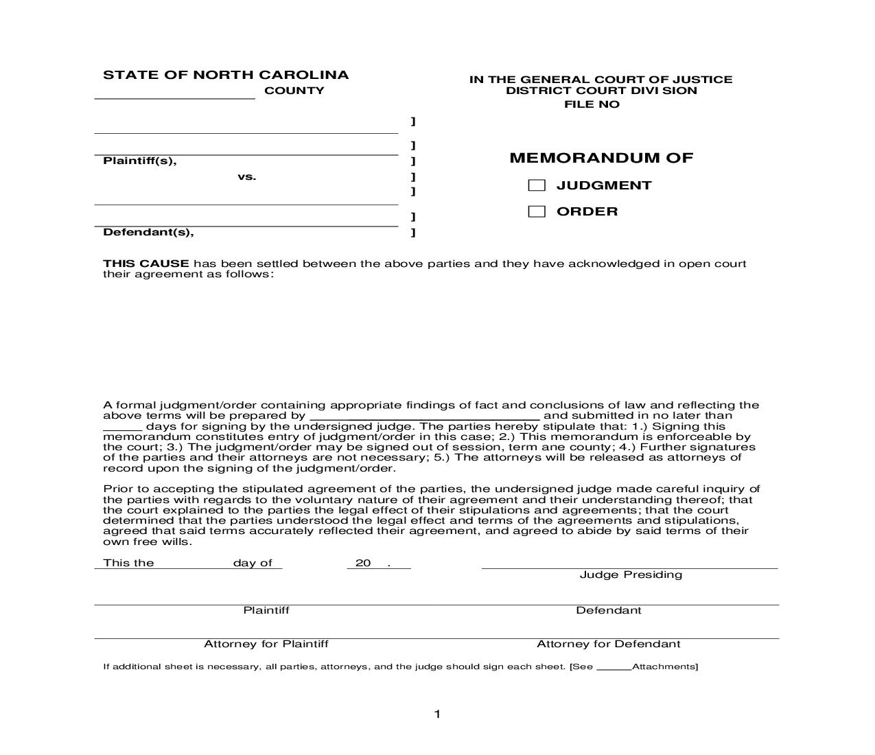 Memorandum Of Judgment Order {2} | Pdf Fpdf Doc Docx | North Carolina