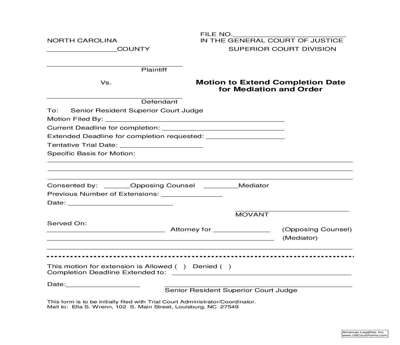 Motion To Extend Completion Date For Mediation And Order Superior Court | Pdf Fpdf Doc Docx | North Carolina