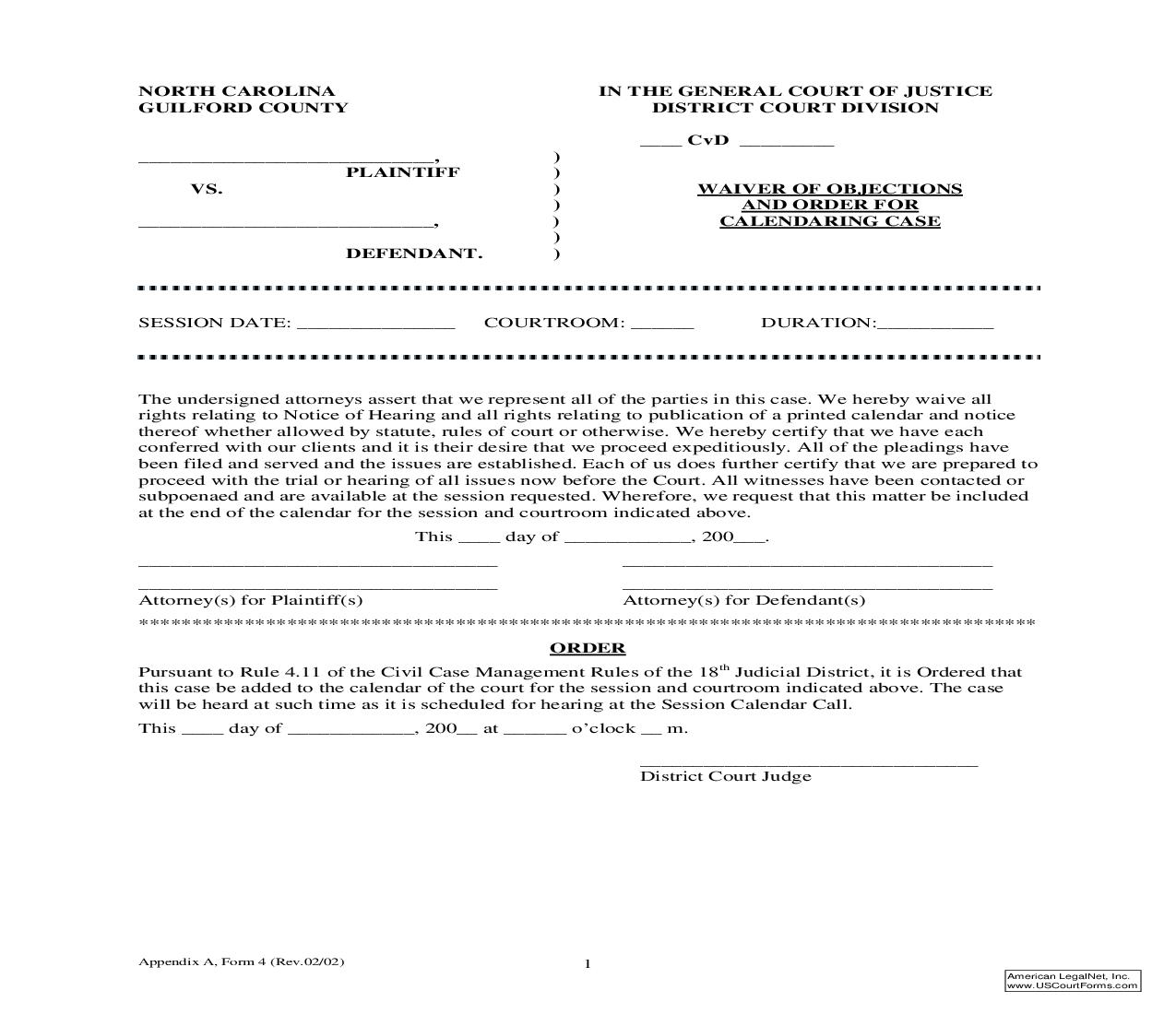 Waiver Of Objections And Order For Calendaring Case {Form 04-Appendix A} |  | North Carolina