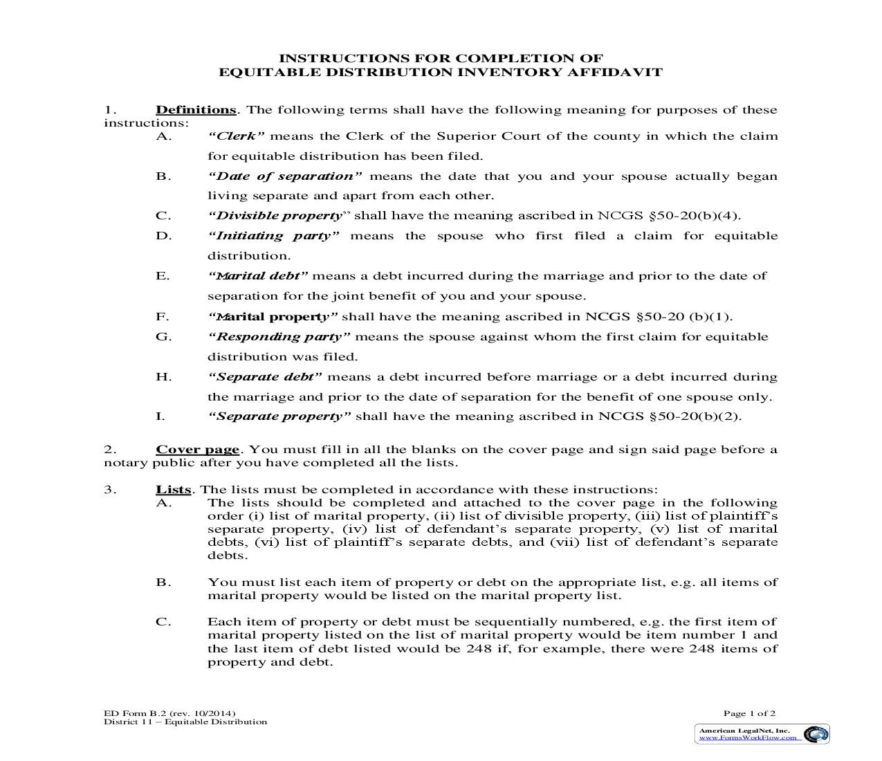 Instructions For Completion Of Equitable Distribution Inventory Affidavit {Form B.2} | Pdf Fpdf Doc Docx | North Carolina