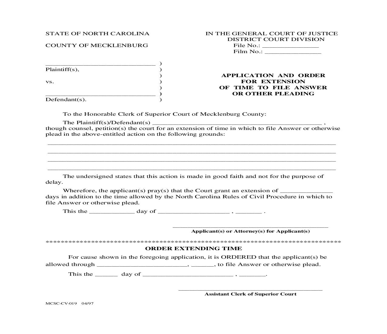 Application And Order For Extenstion Of Time To File Answer And Or Other Pleading {MCSC-CV-019} | Pdf Fpdf Doc Docx | North Carolina